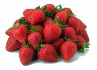 A pile of strawberries.